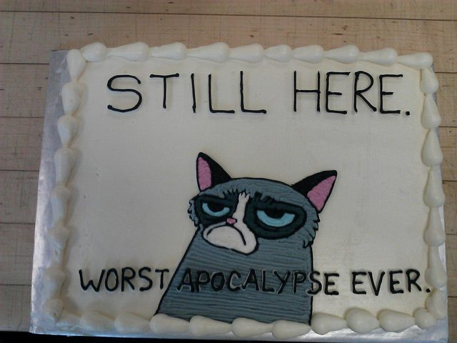 'Still here - worst apocalypse ever'-cake