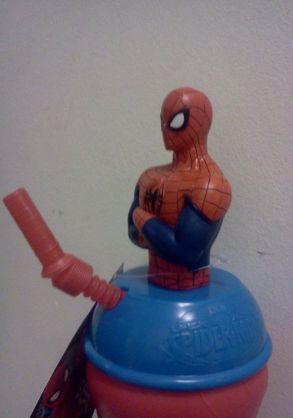 Awkward Spiderman cup I would not let my kids drink from....
