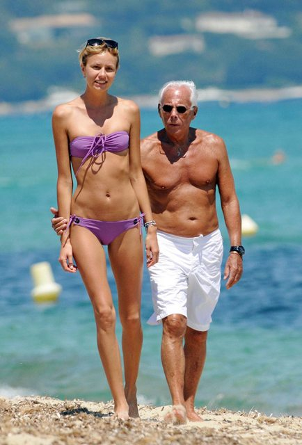 Giorgio Armani and his walking stick