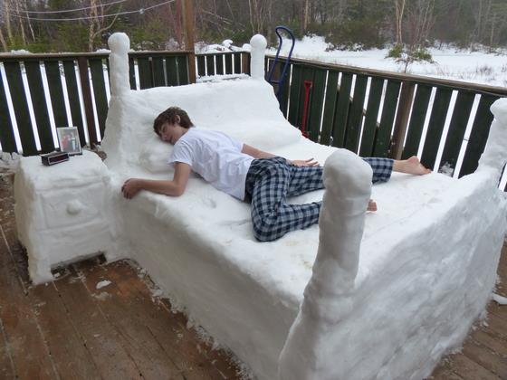 Snow? Why not build a bed and bedside table on your porch so you can enjoy fresh air at night?