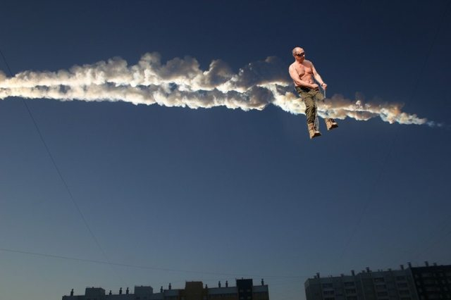 Vladmir Putin riding the meteor