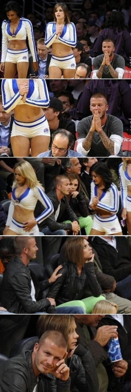 Beckham caught by wife