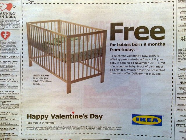 Well played Ikea, Valentines Day offer