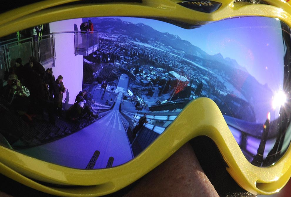 Stunning photograph of ski jump via goggles