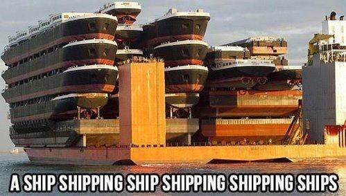 A ship shipping ship shipping shipping ships