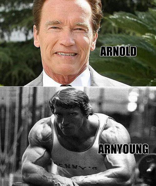 Arnold vs. Arnyoung Schwarzenegger