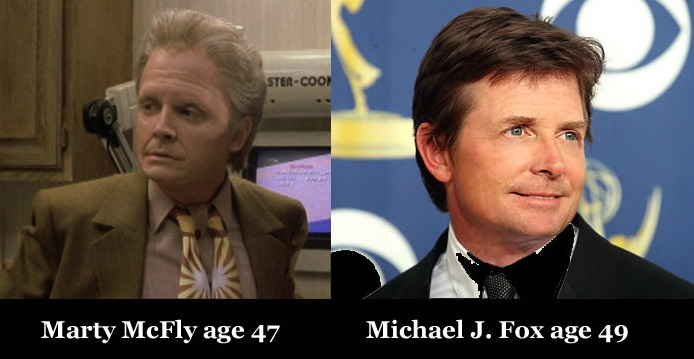 Marty McFly age 47 vs. Michael J. Fox age 49