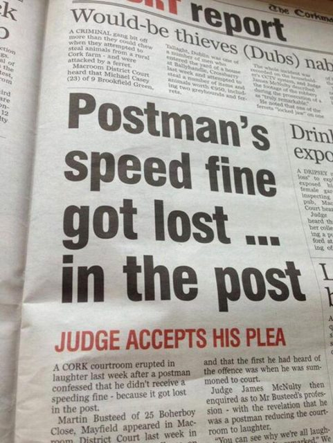 Postman does his job wrong to save himself