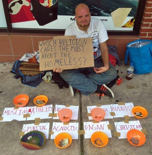 Clever homeless sign