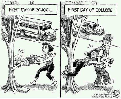 Differences between first day of high school and first day of college.