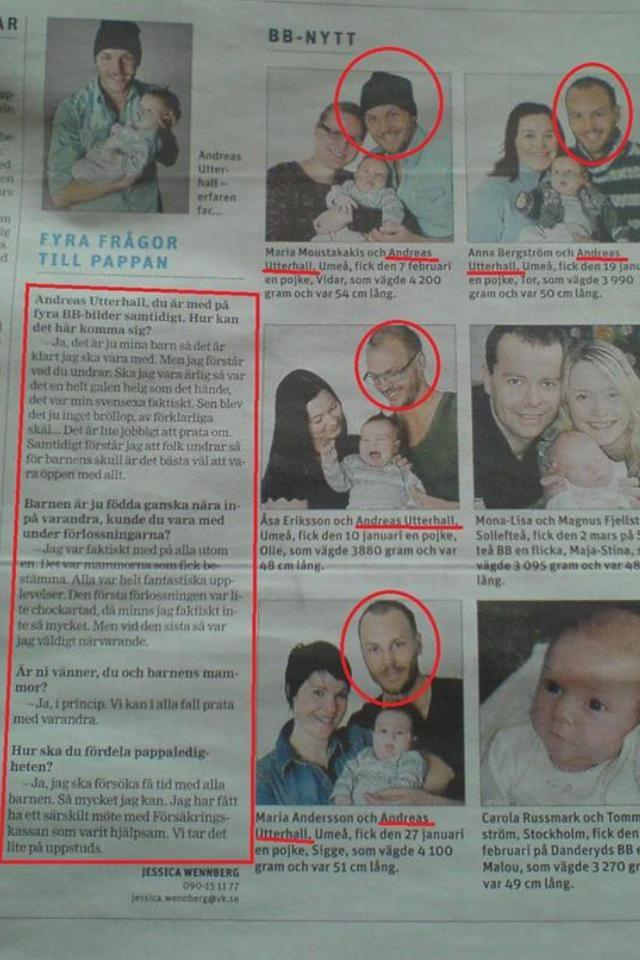 Swedish guy impregnates 4 women during bachelor party! 9 months later - the local %22new born this week%22 page. (translation in comments)