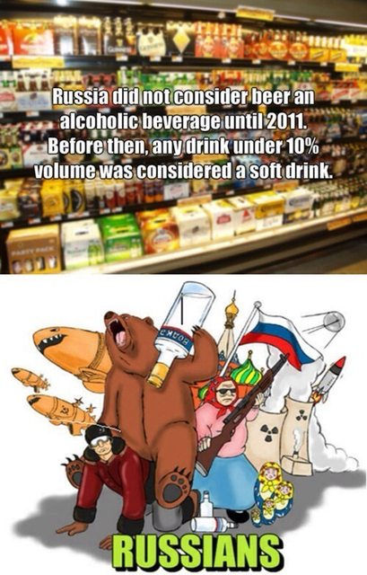 In Russia, beers are considered a soft drink. By law.
