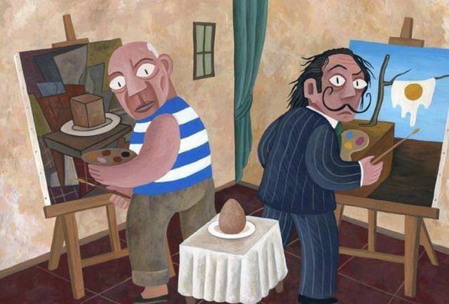 Picasso and Dali painting an egg