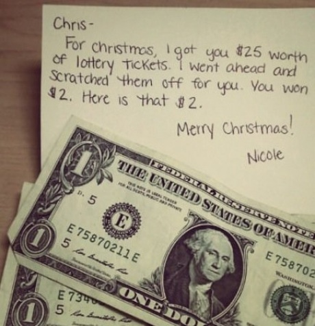 Lottery scratch tickets make good last minute Christmas gifts.