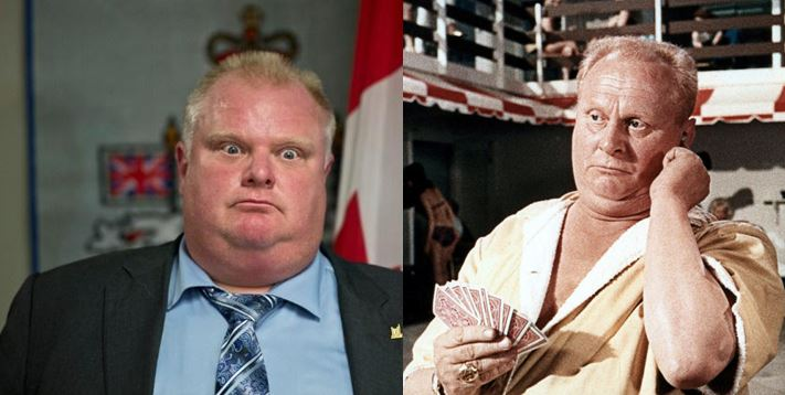 Is it just me or does Toronto mayor Rob Ford look like 60's Bond villain Goldfinger?
