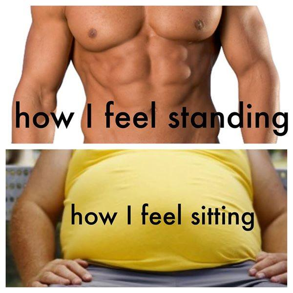How your stomach feels when sitting vs. when standing