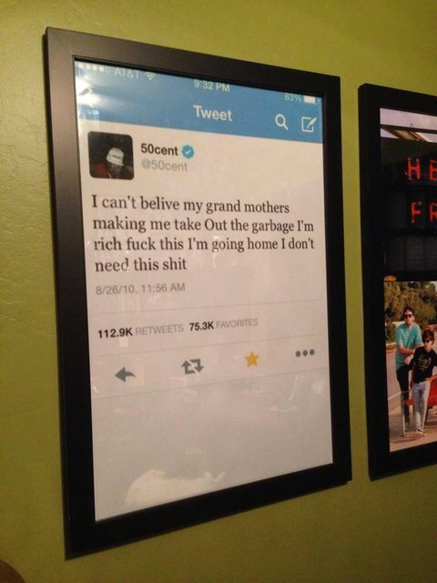 Someone made 50 cent's tweet into a poster